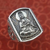 Cluster Rings S999 Pure Silver Jewelry Ethnic Style Retro Guanyin Bodhisattva Evil Spirits And Good Luck Man Ring Valentine's Day Gift