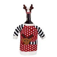 الديكور عيد الميلاد الدعاوى محبوك مع القبعات قرن الوعل قمم زجاجة النبيذ غطاء رأس العشاء السنة الجديدة الحلي XBJK2107