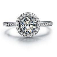 3人の純正925シルバーリング1ct NSCDシミュレートされたダイヤモンド婚約リングのための女性ブランドジュエリー