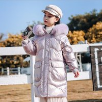 High Quality Kids Long Down Coat Girls Winter 2021 Outdoor Warm Hooed Fur Outwear Jacket Children's Thick Coats For Girl