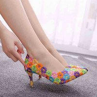 Crystal Queen Femmes Chaussures Mutilcolor Dentelle Mariage 7cm Hauts High Talons Grand Taille Sweet Pompes Princess Party 210610