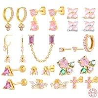 Stud Aide 925 Sterling Silver Pink Zircon CZ Series Earrings Crystal Sakura Flower Cross Bee Ear Jewelry For Women Girls