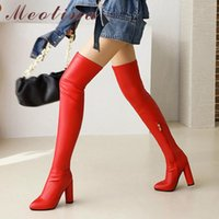 Boots Meotina Women Shoes PU Leather Fashion Thick Super High Heel Ladies Zipper Pointed Toe Over The Knee Winter Black 46