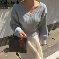 Women's Sweaters Colorfaith 2021 Autumn Winter V-Neck Minimalist Elegant Korean Lace Up Vintage Knitted Lady Jumpers SW19133