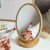 Trucco in legno Specchio cosmetico rotondo ovale con manico per la decorazione del desktop della cassettiera di bellezza delle signore