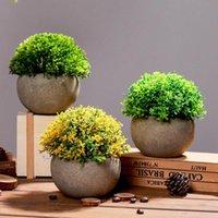 Dekorative Blumen Kränze Simulation Topf Frische Dekoration Kunststoff Ländliches Gras Ball Gefälschte Bonsai Für Wohnzimmer Hochzeitsfest