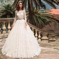 긴 소매 레이스 applique 구슬 새끼 웨딩 드레스 터키 보트 넥 라인 웨딩 컨트리 웨스턴 신부 가운 vestido de noiva sim altw