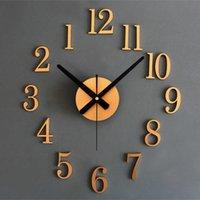 3d stickande vägg klocka retro gyllene silver diy dekor klockor vardagsrum enkel horologe mute rörelse nål klocka sh190924