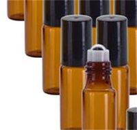 5 ml / 10ml rullo di vetro ambra portatile su rollerball bottiglie di olio essenziale con palla a rulli in acciaio inox 90 V2