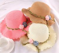 Летняя соломенная цветочная шляпа дети женщин широкий Brim защитная защита от солнца пляжные колпачки 2021 ребенок дети складной принцесса Sunhat Z2505