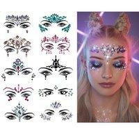 S2600 DIY Fashion Eyebrow Face Jewelry Shiny Acrylic Resin Rhinestone Diamond Face Forehead Stickers Temporary Tattoo Party Face Decorative Body Sticker