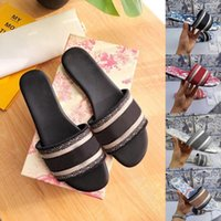 2021 Mulheres Areias Bordados Designers Slides Sandalo Infradito Mocassini a pantofola in gomma a righe in pelle da spiaggia 2021 con scatola 35-41