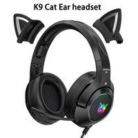 Onikuma k9 gato auriculares para juegos de gato con micrófono RGB Luminoso teléfono móvil Redacción Redacción Auriculares Auriculares Auriculares