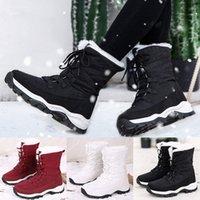 إمرأة ماء منصة الشتاء الأحذية الدافئة أفخم نعل الثلوج الدانتيل يصل الأحذية الكاحل الدانتيل يصل أحذية سميكة أسفل بوتاس موهير كاوبوي الأحذية D9UR #