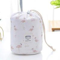 Mujeres Cosmetic Bag Barril Formado Maquillaje Bolsas de maquillaje Drawstring Bolsas de viaje Bolsos de aseo Cactus Flamingo Flower Impresión 7 Colores Opcional 51 V2
