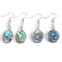 Wojier Natürliche Abalone Shell Perle Baumeln Haken Ohrringe Paua Oblong Oval Rund Quadrat Bunte Perlen Tropfen Ohrring Schmuck DBV900