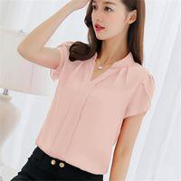 Women's Blouses & Shirts NDUCJSI High Quality Short Sleeve Ladies V Neck Chiffon Women Fashion Casual Tops Blusas