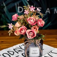 12 cabezas Seda Rosa Flor artificial Gerbera Daisy Fake Flower Bunch Bouquet para decoración de bodas Casa Sala de estar Decoración Planta