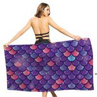 Mermaid Beach Towel Microfiber Large Bath Towels for Girls Quick Dry Kids swimming Pool Blanket Fors Travel DHD7721