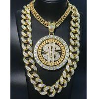 2CM Hip Hop Men Gold Sliver Color Necklace Ice Out Crystal Miami Dollar Sign Rock Pendant Bling Rapper Hip Hop Jewerly For Men H0918