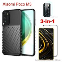 For Xiaomi Poco M3 Wearable Shockproof Rugger Hard Case 3 in 1 Casing + Tempered Glass + Camera Protective Glass Film