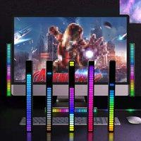 Luz de ritmo ativada por voz RGB, Controle de som criativo colorido ambiente com indicador de nível de música de 32 bits LED de desktop