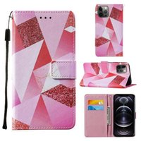 colorful printed triangle painted pu leather wallet phone cases with credit card slot flip book For iPhone 12 11 pro promax X XR XS Max 7 8 Plus creative cover case