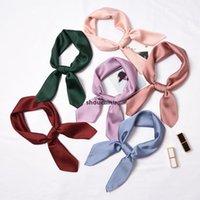 Heißer Verkauf 2021 Neue Frauen Soild Farben Seidenschal Square Foulard Dame Hals Haar Schals Design Stirnband Kerchief Mode Frauen Mädchen HA