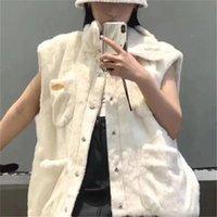 FAUX FAUX ELEGANT FRANÇAIS Long Gilet Femme Hiver Sans manches Loose Veste manteau Mode Collier Simple Brotteux Gilet féminin 2020
