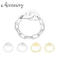 Moonmory Fashion 925 Sterling Silver Handcuff Ring White Paper Clip Chain Menottes Ring Gift For Women And Men Jewelry Dating A0611