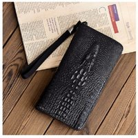 Fashion Men's handbag Alligator Adult Wallet Crocodile Pattern Moneybag Single Purse Handle Bag PU Hard Leather Gift Animal Print