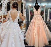 2021 New Chic Beautiful Prom Es Long A-line v Neck Applique Pageant Evening Gowns Beading Sash Peach Formal Vestidos De Noiva B6d8
