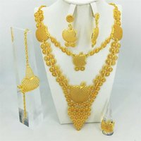 Fashion Wedding Bridal Crystal Jewelry Sets African Beads Dubai Gold Color Statement Jewellery Costume 211015