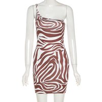 Casual Dresses K21D00758 Sexy Zebra Print One-shoulder Stretch Sheath Dress In Summer 2021 Women's