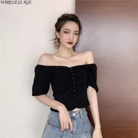 Women's T-Shirt WIRELESS AGE T Shirt Women High Waist Short Sleeve Thin Knitted Ice Silk V Neck Solid Color Sexy Tight Top Fashion Wild