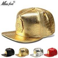 Top Kapaklar MissFox Hip Hop Firavun LK Kadınlar Erkek Şapka Rhinestone Düz Brim Streetwear Altın Timsah Şapkalar Ve