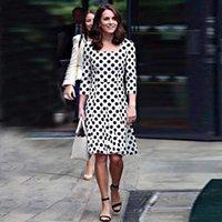Günlük Elbiseler Kate Middleton Moda 2021 İlkbahar Sonbahar kadın Yüksek Kaliteli Vintage Zarif Chic Patchwork Nokta Parti Ofis Elbise