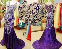 2021 Autumn Winter Sequins Fabric Mother of bride Dresses Purple Mermaid Formal Evening Gowns Applique Crystal Beaded Luxury Prom