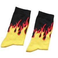 Trendy Kaykay Hip Hop Erkekler Kadınlar Için Alev Renk Pamuk Çoraplar Unsex Yaratıcı Yangın Baskılı Çorap (SO23)