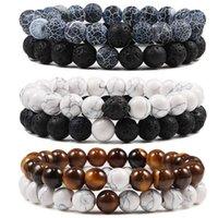 Set Bracelet Couples Distance Black White Natural Lava Stone Tiger Eye Beaded Yoga Bracelets for Men Women Elastic Rope Jewelry