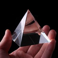 Energy Healing Clear Crystal Glass Pyramid with Gold Stand Feng Shui Egypt Egyptian Figurines Miniatures Ornaments Craft