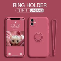 Phone Case For OnePlus 8 9 Nord 8T Pro Shockproof TPU Candy Colors Liquid Sofe Silicagel 3 in 1 With Ring Holder Wristband Cover