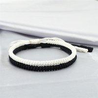 Tennis Classic 2pcs Handmade Weave Bracelet Women Tibetan Buddhist White Black Knots Rope Charm Bracelets & Bangles Adjustable Jewelry