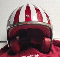 Motocross Kaskları Masei Ruby Vintage Kask Yarım Kask Açık Yüz ABS Casque Motocross 501 Kırmızı