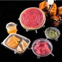 Küchenlagerorganisation 6 stücke frische abdeckung staub dehnbare transparente runde kunststoff wrap topf schüsseldeckel