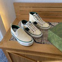 Itália Designers de Luxo Sneakers Houndstooth Mulheres Sapatos Bege Jacquard Denim Low-Top / High-Top / Slip-on Tênis 1977 Sneaker
