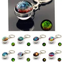 Keychains Luminous Sun Galaxy Metal Keychain Planetary Fantasy Double-sided Glass Ball Pendant Male And Female Schoolbag Accessories