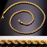 Hip Hop 18K chapado en oro de acero inoxidable de 3 mm Cadena de cuerda torcida de 3 mm Collar de gargantilla para mujer para hombres Regalo de joyería de Hiphop a granel