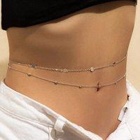 Na moda sexy dupla camada de barriga de barriga moda biquini cintura link colares de jóias corporais para mulheres acessórios presente