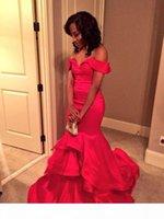 Robe de soirée sirène rouge sexy à l'épaule dossier robe de bal robe de fête robes de rondelles volants fatigués personnalisés